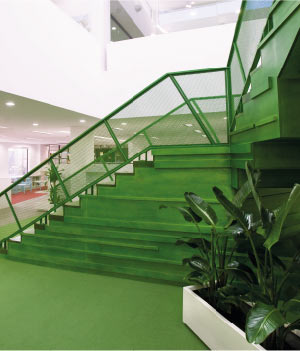 ACER Press office - green staircase