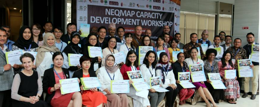 Participants in the NEQMAP Capacity Development Workshop in Bandung, Indonesia.