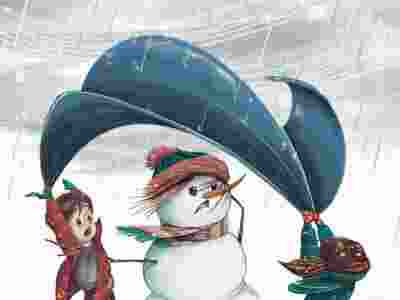 Illustration of a young boy and girl holding a tarpaulin over a snowman to protect it from the rain storm. Wind is blowing the tarpaulin upwards.